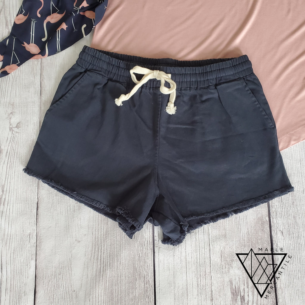 Navy Cotton Drawstring Shorts
