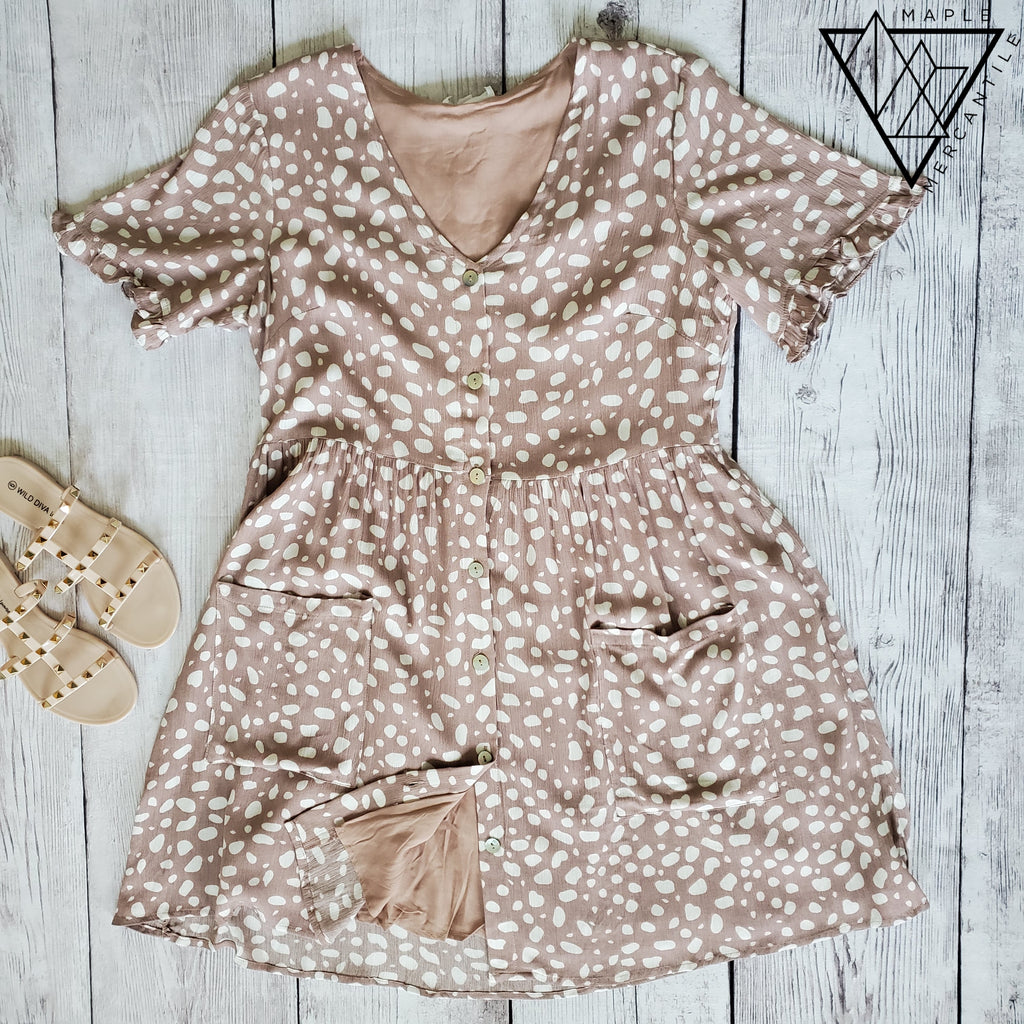 Taupe Leopard Crinkle Dress