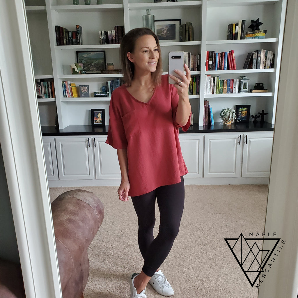 Cranberry Textured Slouchy Tunic