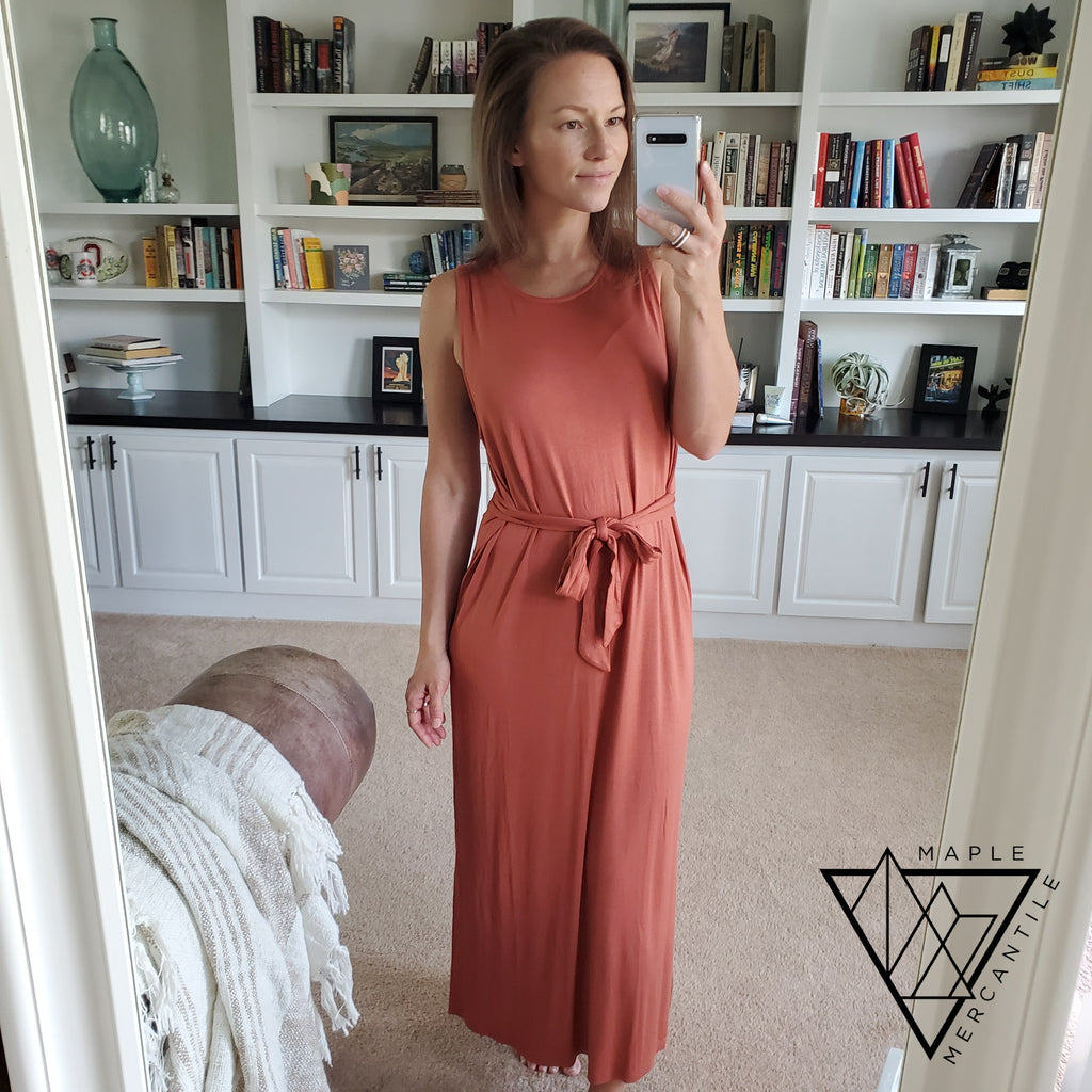 Tiffany Tie Dress - Rust
