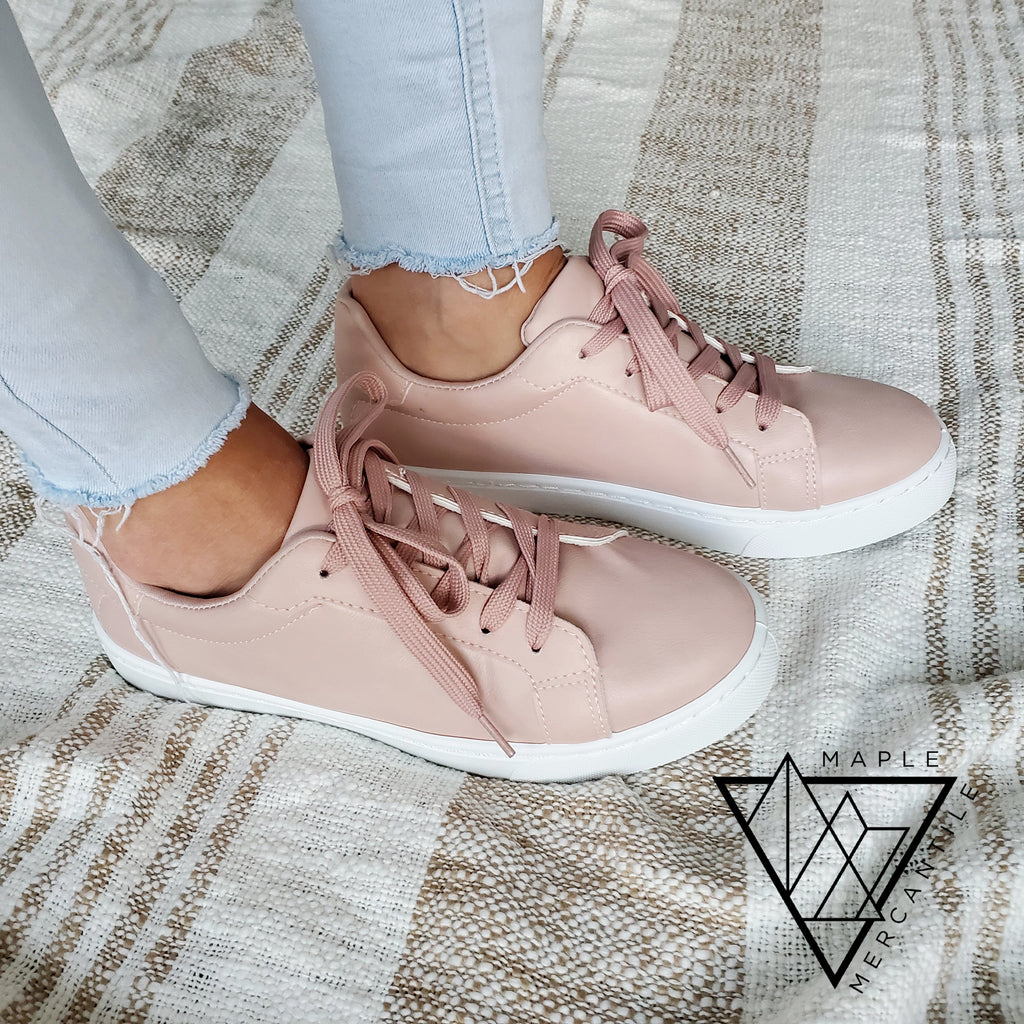 Blush Lace Up Sneakers