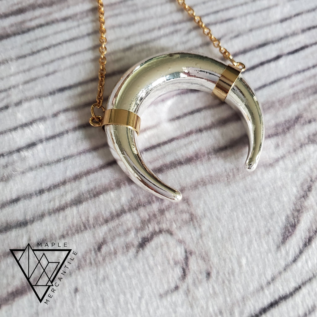 Two Tone Horn Necklace