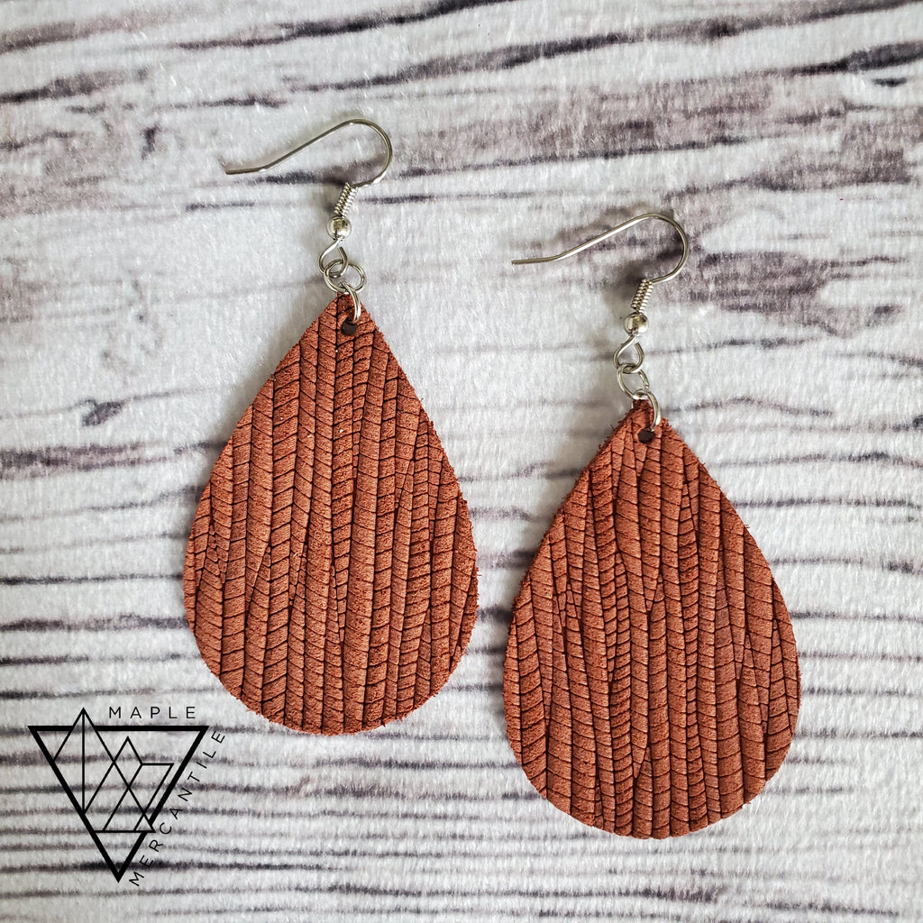 Fall Leather Teardrop Earrings