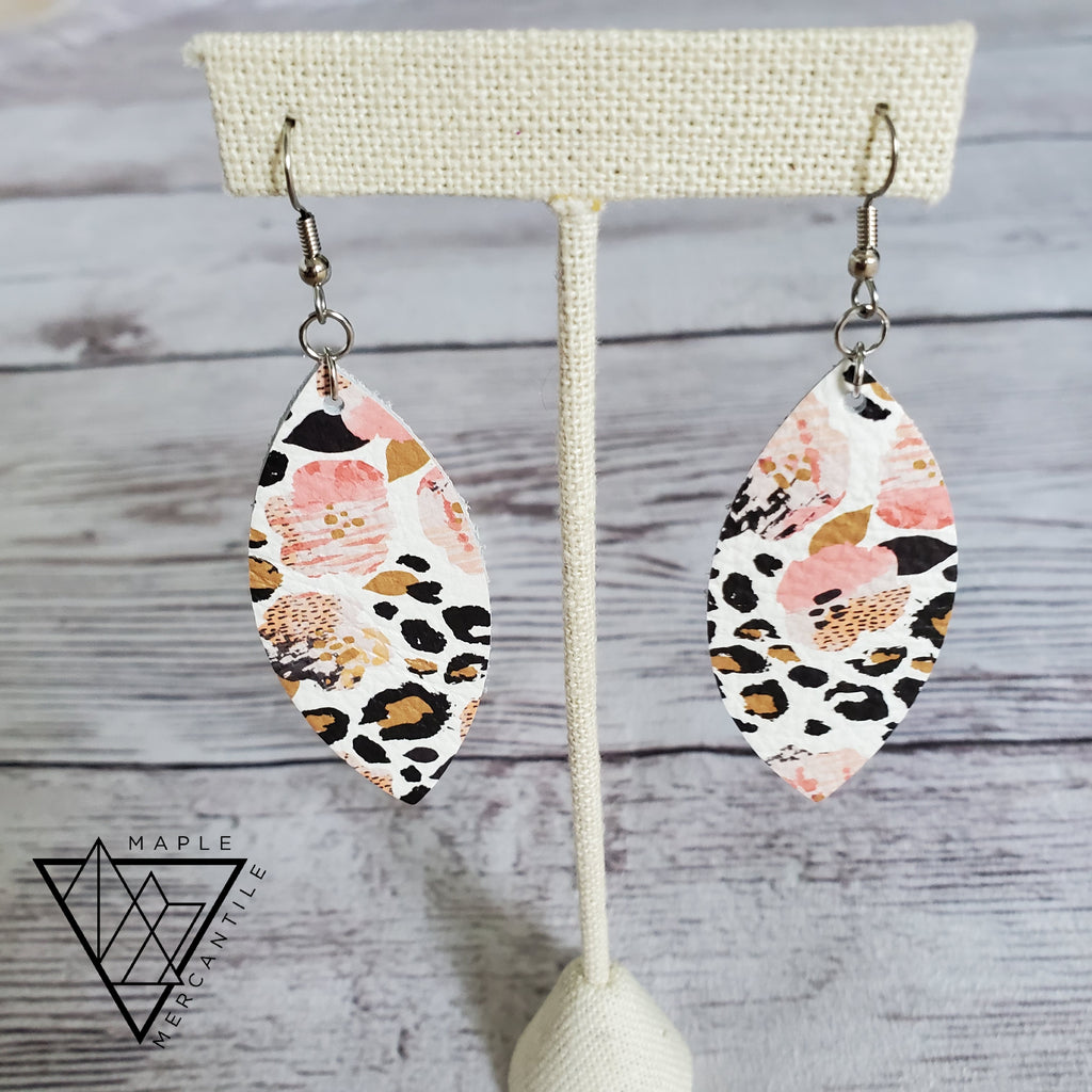 Leopard Floral Leather Earrings