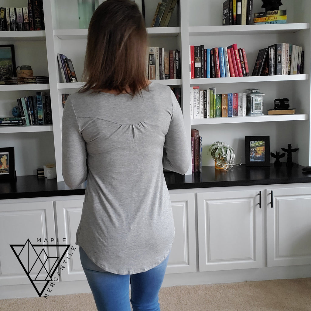 Long Sleeve Swing Henley - Grey