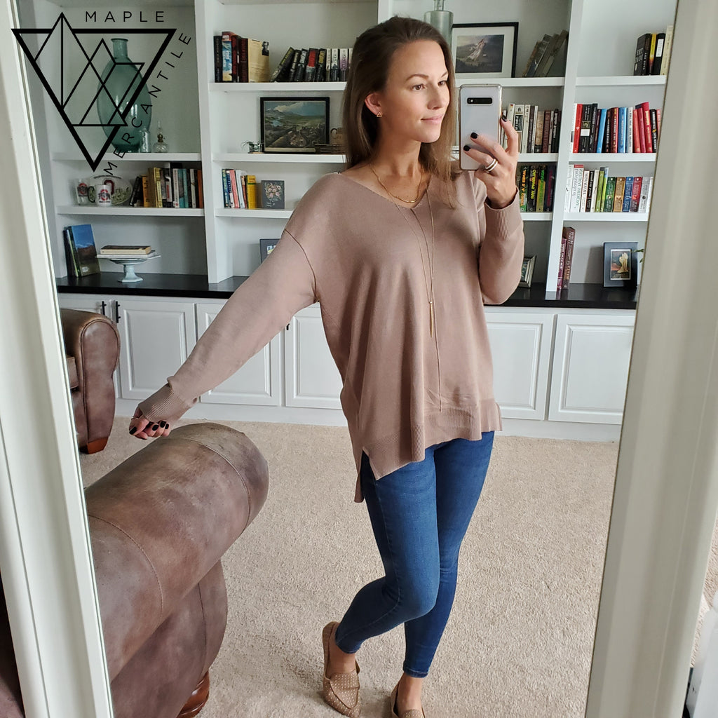Knit V-neck Sweater - Mocha