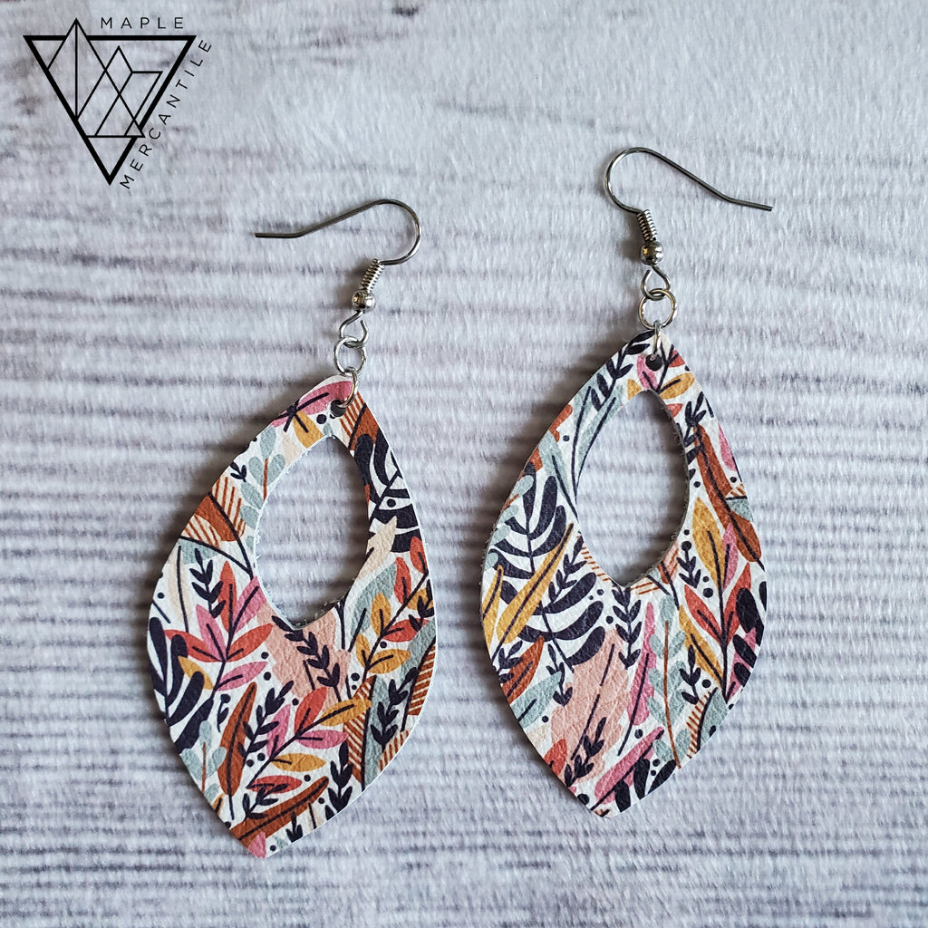 Fall Florals Leather Earrings