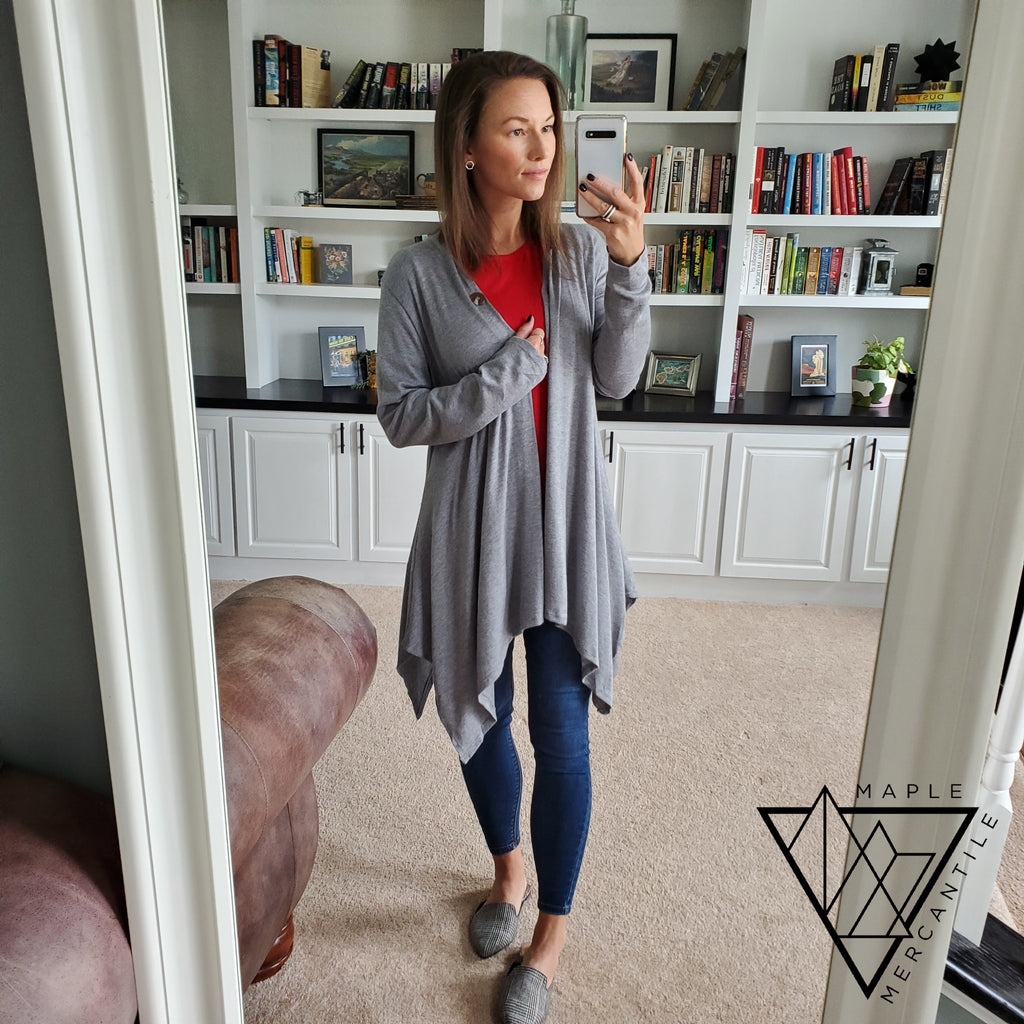 Grey Shark Bite Cardigan