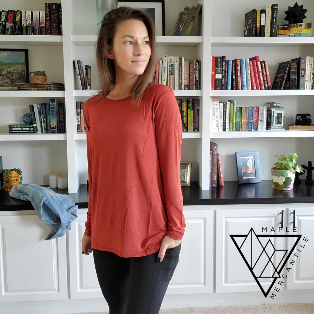 Long Sleeve Cut-Out Top - 2 Colors