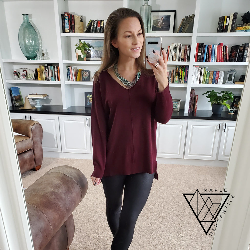Knit V-Neck Sweater - Wine