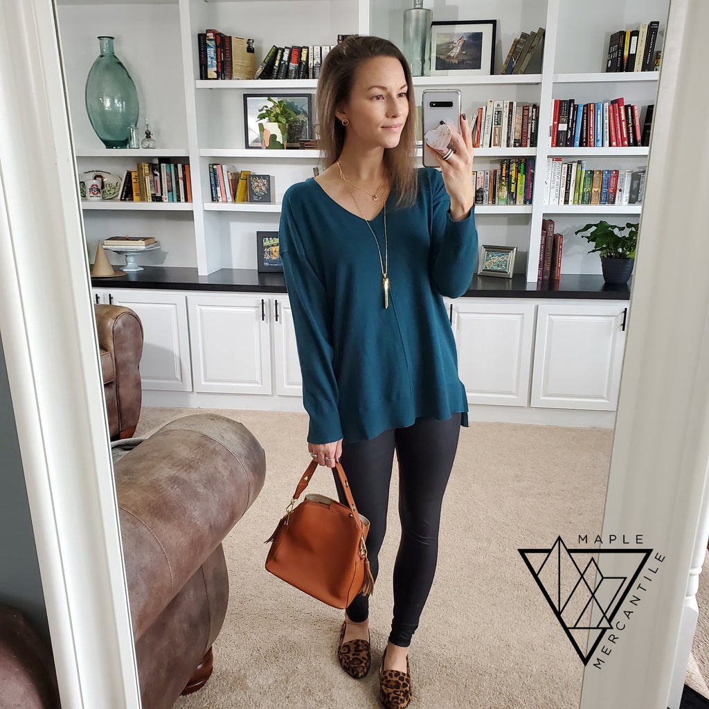 Knit V-Neck Sweater - Jade
