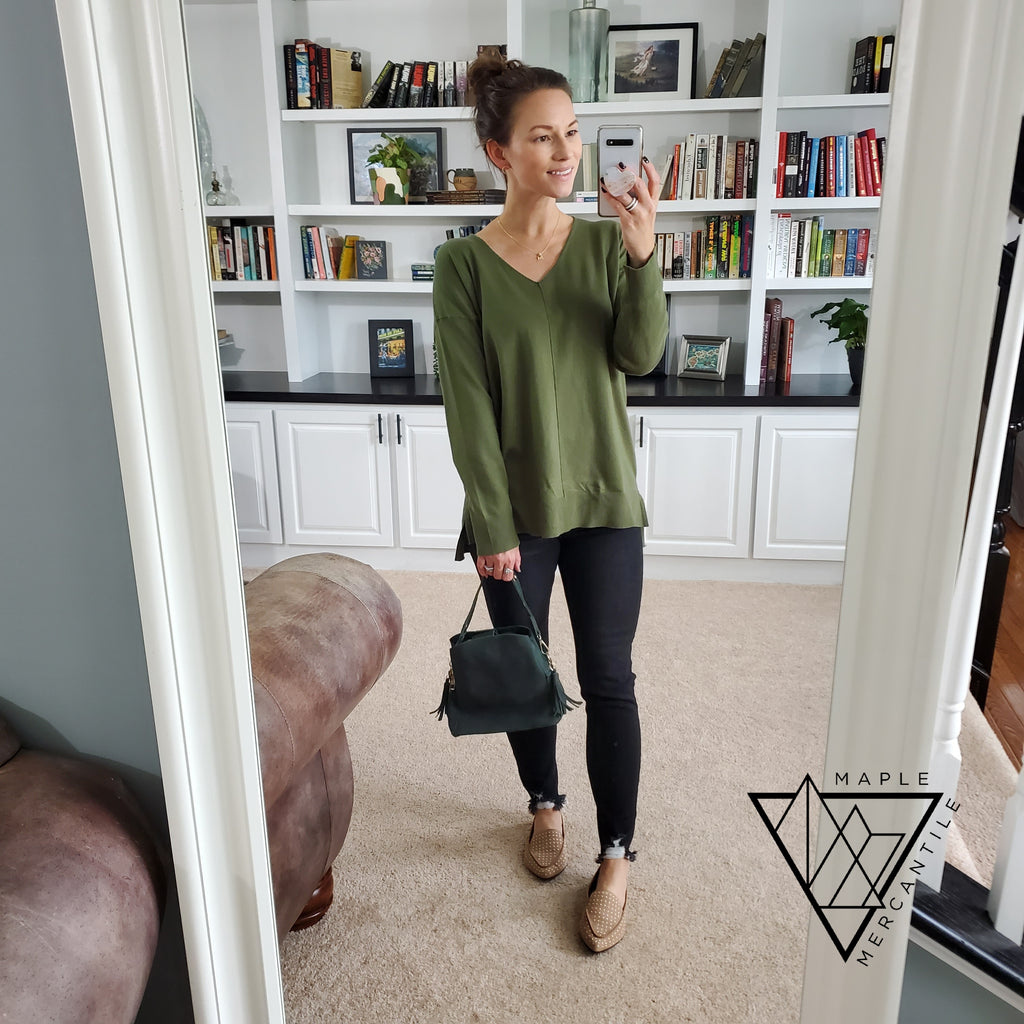Knit V-Neck Sweater - Olive
