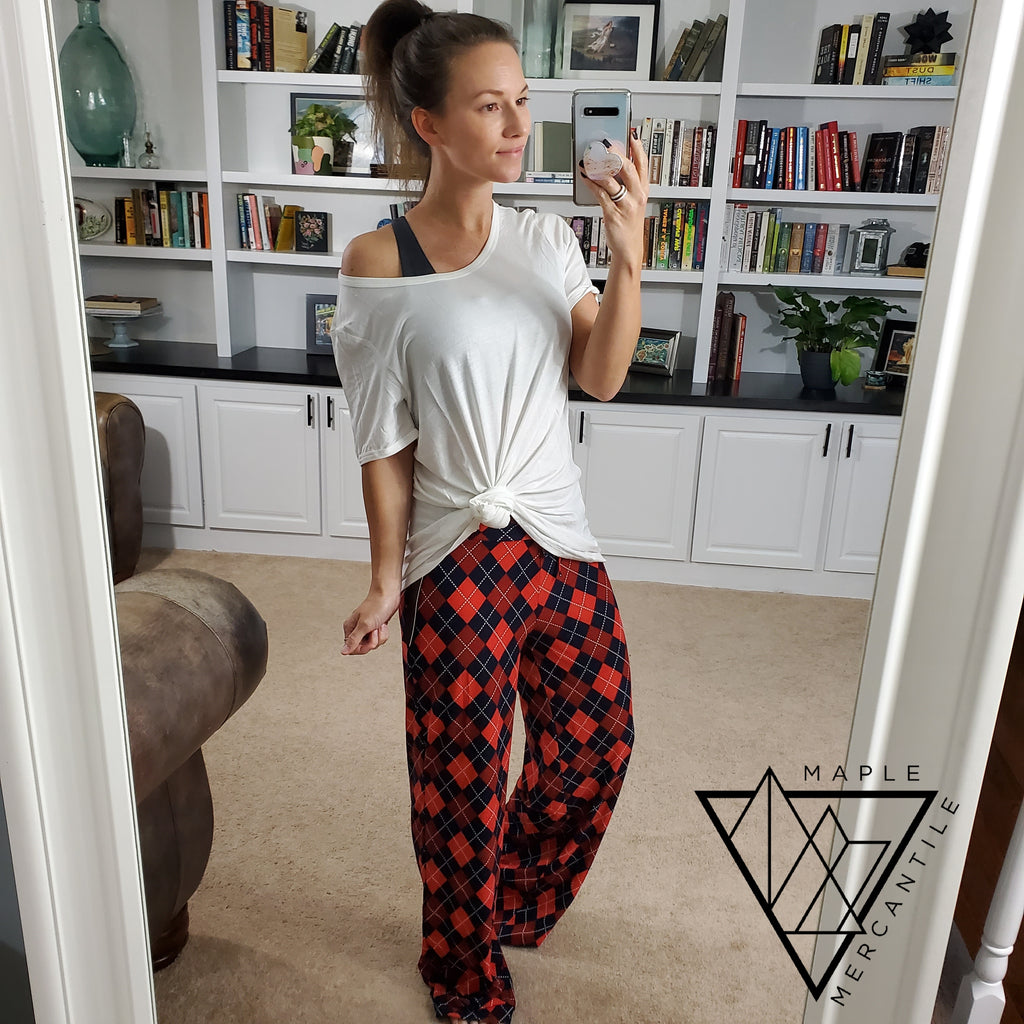 Softest Lounge Pants - Red Navy Argyle