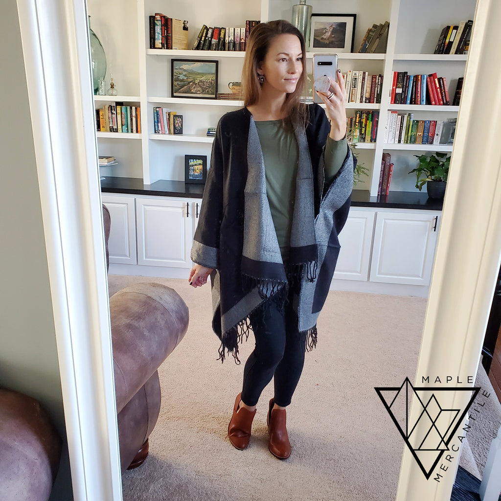Reversible Poncho with Pockets