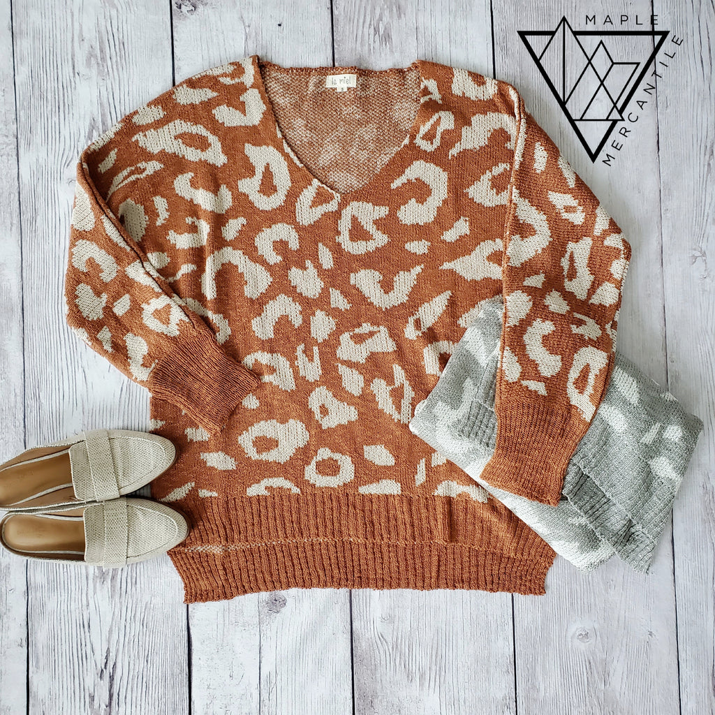 Oversized Leopard Sweater - Rust