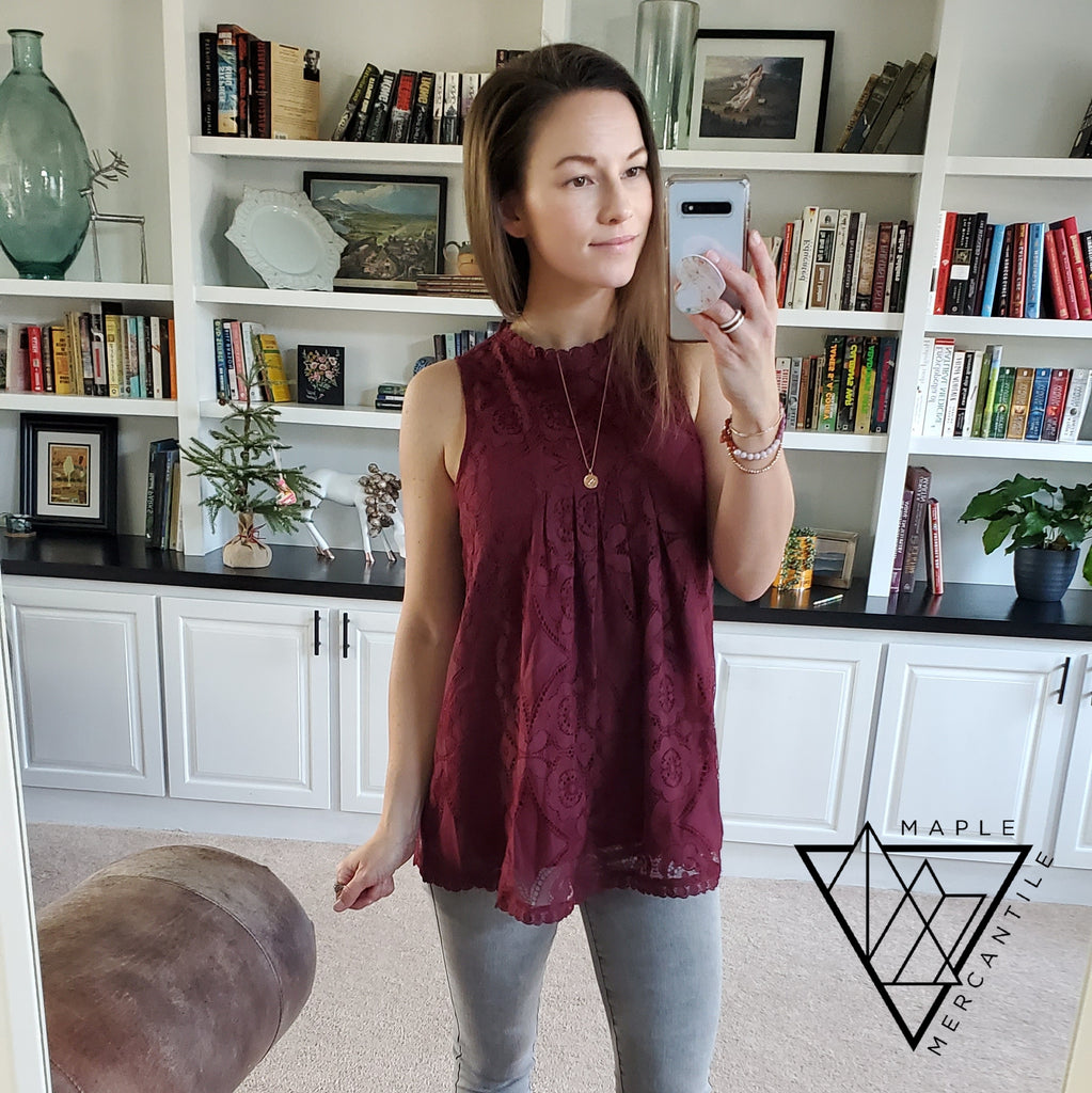 Lacey Tank Top - Burgundy