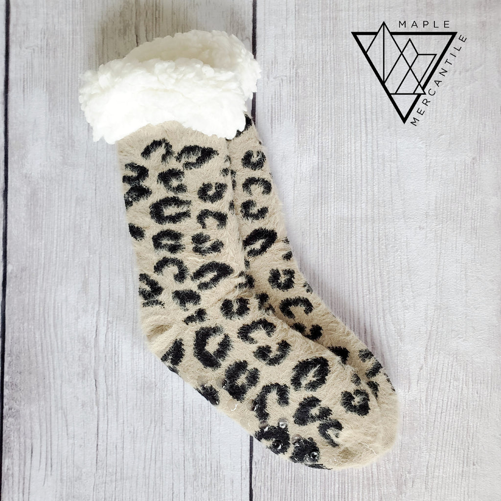Tan Leopard Sherpa Socks