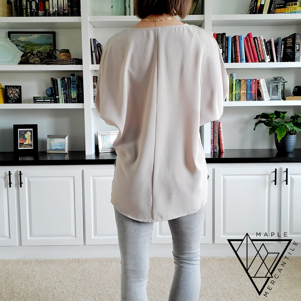 Taupe Roll Sleeve Blouse