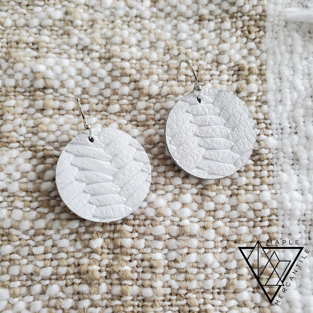 Mini Leather Earrings - White Braid