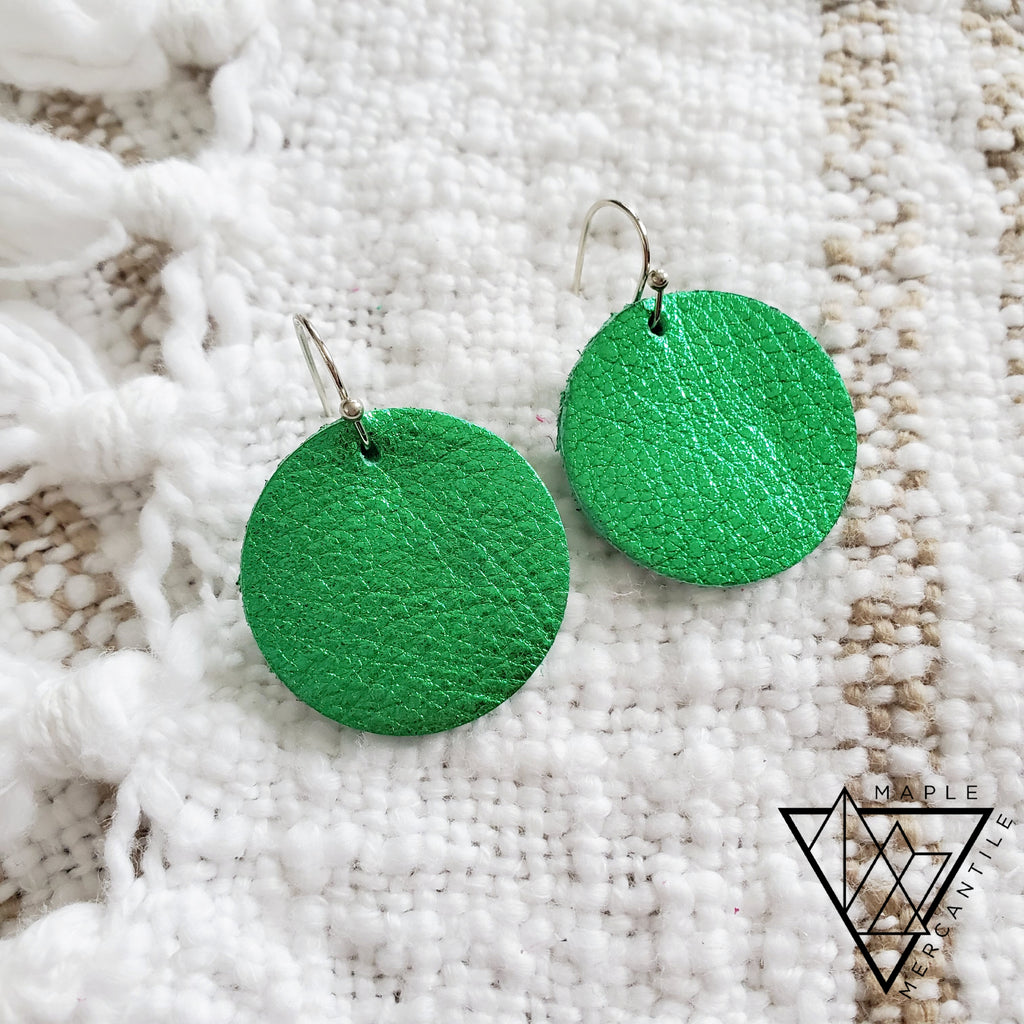 Mini Leather Earrings - Shamrock