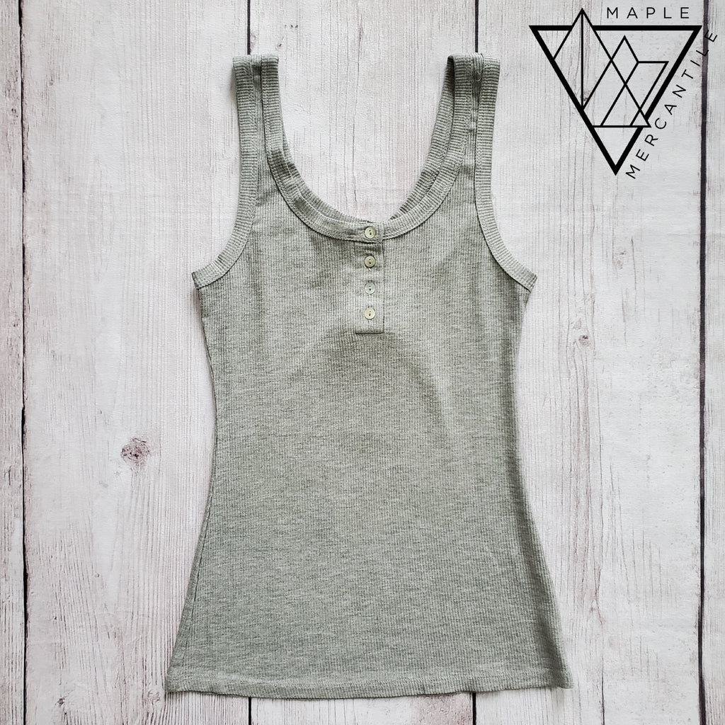 Henley Ribbed Tank - Grey
