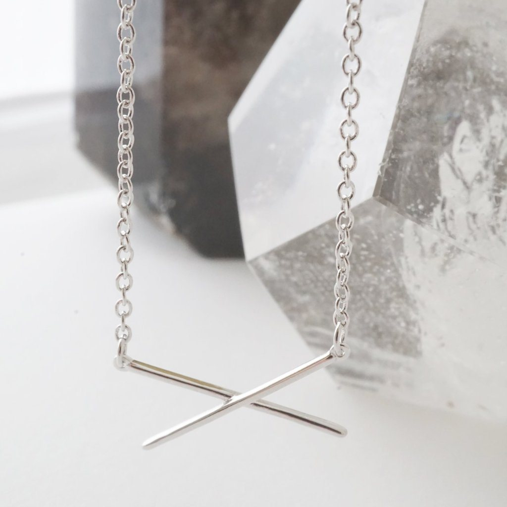 Delicate X Bar Necklace
