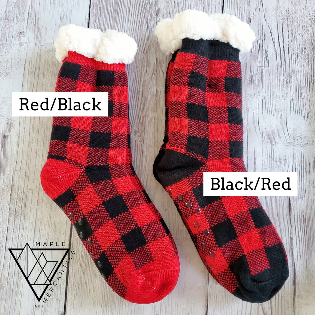 Buffalo Plaid Sherpa Slipper Socks
