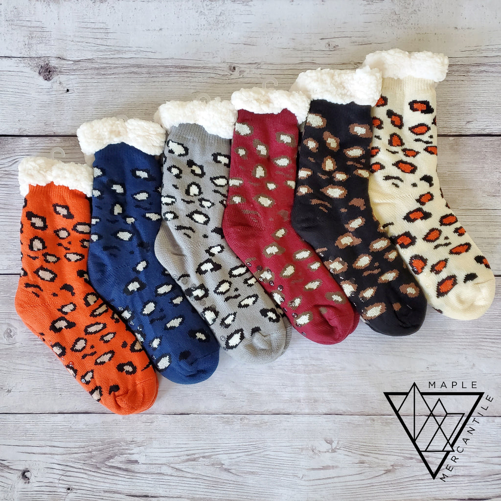 Leopard Sherpa Slipper Socks