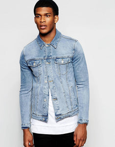 Denim Jacket In Skinny Fit With Mid Wash