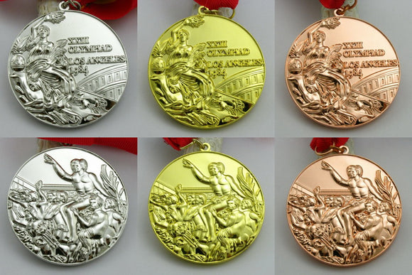 Complete Set of 1984 Los Angeles Olympic Medal Gold Silver Bronze with Ribbon 1:1 Full Size Replica