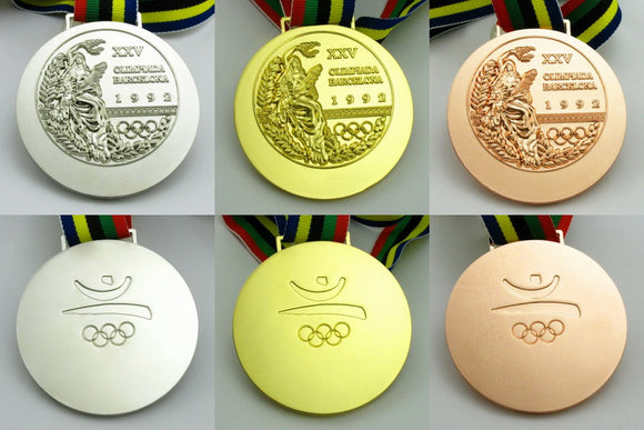 Complete Set of 1992 Barcelona Olympic Medal Gold Silver Bronze with Ribbon 1:1 Full Size Replica