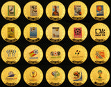Full Set of 21 pcs (1930-2018) Previous FIFA World Cup Football Match 24K Gold Plated Coins Replica