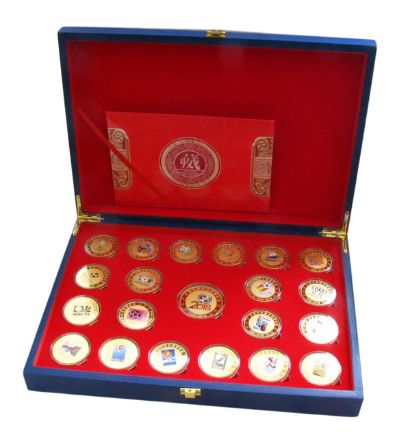 Complete Set of 21 pcs (1930-2018) Previous FIFA World Cup 24K Gold Plated Coins With Box Replica