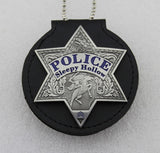 Genuine Leather Holder/ Holster/ Wallet For Multi-size Round or Star Police Badges