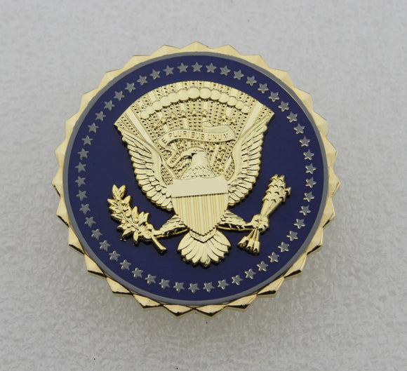 US President Service Badge Solid Copper Brooch Pin Replica Movie Props