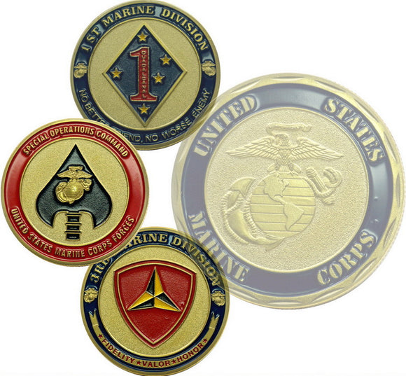 3 Pcs of US Marine Corps Division SOCOM Special Operations Command Challenge Coins