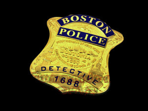 Boston Police Detective Badge Solid Copper Replica Movie Props With Number 1688