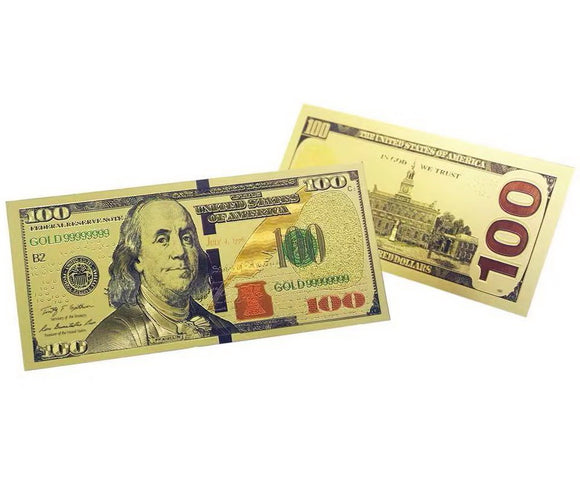 $100 US Dollar Bills Gold Foil Banknotes Novelty Notes New Version Prop Money