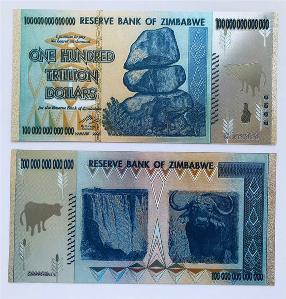 Zimbabwe 100 Trillion Dollars Bills Silver Foil Banknotes Novelty Notes Prop Money