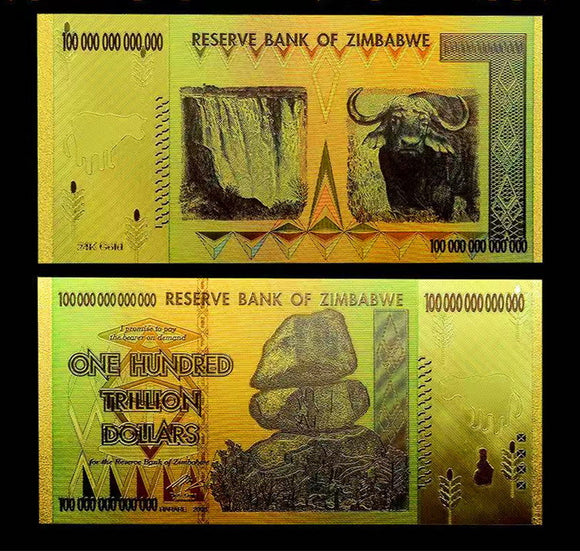 Zimbabwe 100 Trillion Dollars Bills Gold Foil Banknotes Novelty Notes Props Money