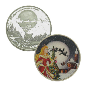 Sleeping Beauty Princess Merry Christmas Xmas New Year Gift Silver Coin