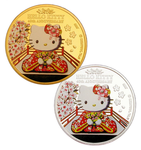 A Pair of Japan Anime Cartoon Kimono Hello Kitty 40th Anniversary Commemorative Coins
