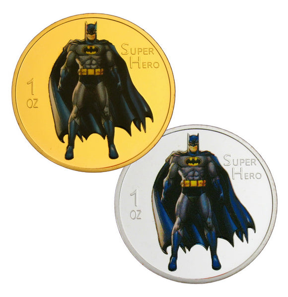 Batman Superhero Comic Colored 24K Gold & Silver Plated Coins