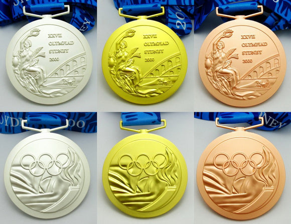 Sydney 2000 Olympic Medals Gold Silver Bronze with Ribbons 1:1 Full Size Replica
