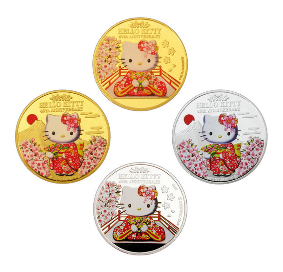 4 Pieces Japan Anime Cartoon Kimono Hello Kitty 40th Anniversary Commemorative Coins