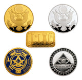 5pcs Masonic Freemasonry Freemason Symbol All-seeing Eyes Pyramid Challenge Coins