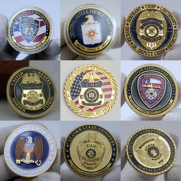9 Pieces US Federal Law Enforcement Police Badge Challenge Coins