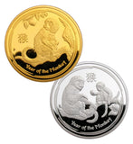 A Pair of 2016 Australia Lunar Zodiac Year of the Monkey Commemorative Coins