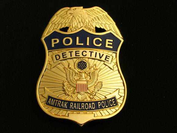 US Amtrak Railroad Detective Police Badge Solid Copper Replica Movie Props