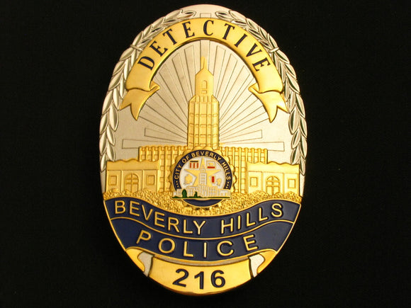 US Beverly Hills Detective Police Badge Solid Copper Replica Movie Props With Number 216